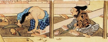 材の切断と小口の整形(春日権現験記).jpg